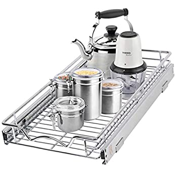 """Pull Out Cabinet Drawer Organizer –Heavy Duty- Slide Out Kitchen Cabinet Storage Shelves Sliding Drawer For cabinet -11""""W x 21""""D - Requires At Least a 12"""" Cabinet Opening Wire Frame Chrome Finish"""