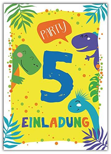Junaversum 12 Einladungskarten zum 5. Kindergeburtstag Jungen Dinosaurier Einladungen fünfte Geburtstag
