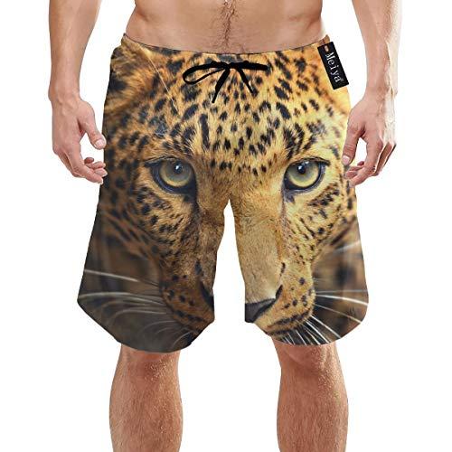 Ye Hua Leopard Portrait Herren Schnell trocknende Badehose Lange elastische Taille Badebekleidung Badeanzüge mit Taschen M.