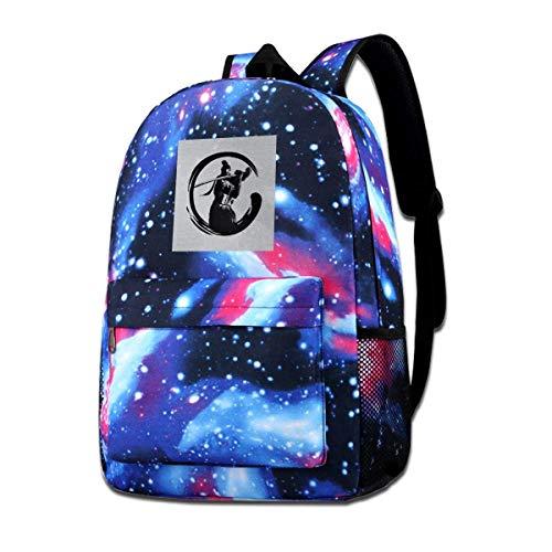 Warm-Breeze Galaxy Impreso Hombros Bolsa Sekiro Shadows Die Twice Shenobi Enso Dark Fashion Casual Star Sky Mochila para niños y niñas