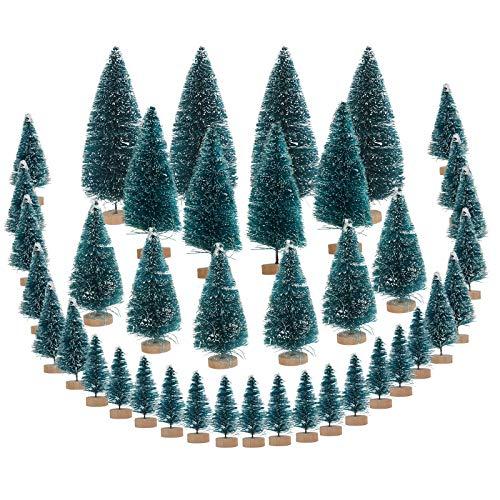 CINMOK 40 Pezzi Alberi di Natale in Miniatura,Neve Modello di Albero di Pino Verde Base in Legno per la Festa di Natale Negozio di Artigianato Fai Da Te Decorazione Vetrina