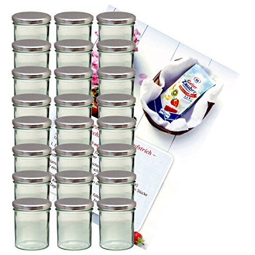 MamboCat 24er Set Sturzglas 350 ml Marmeladenglas Einmachglas Einweckglas to 82 silberner Deckel incl. Diamant-Zucker Gelierzauber Rezeptheft