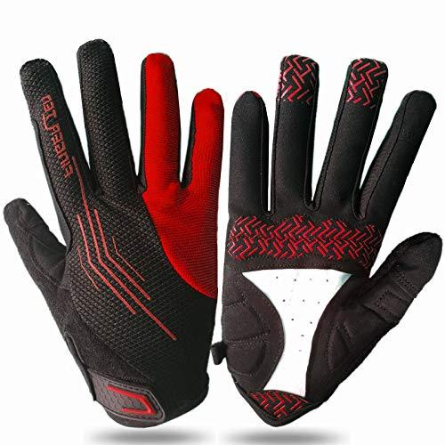 Cycling Gloves for Men Full Finger Anti-Slip Breathable, Mountain Bike Glove for Riding Sport Fitness Running Climbing Comfortable Color Black Red Blue Green Orange (Red, Medium)
