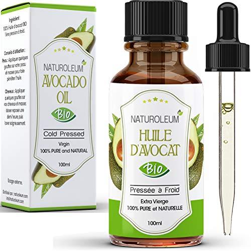 Aceite de aguacate orgánico Prensado en Frío, Puro y Natural - Cuidado del Cabello, Pestañas, Uñas, Piel, Barba 100ml