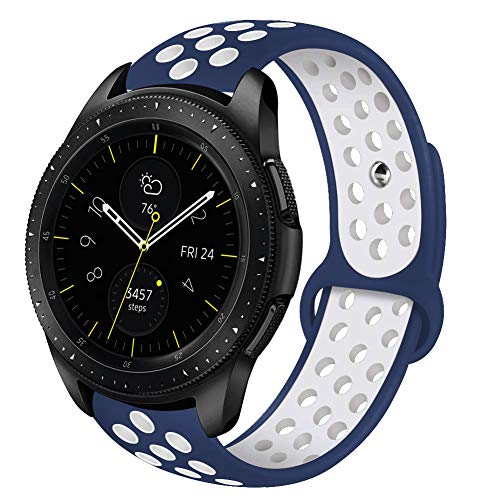 VIGOSS Compatible Galaxy Active (40mm) Bands/Galaxy 42mm Band/Gear Sport Band - 20mm Silicone Strap Wristband for Samsung Galaxy Watch 42mm R810 (Blue/White, S/M)
