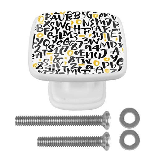 Paquete de 4 pomos de cocina para gabinetes, pomos de cristal para cajones, cajones, tiradores de gabinete, accesorios para cocina, aparador, armario, cuarto de baño, armario, letras patrón