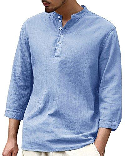 Fueri Hemd Herren Leinenhemd Sommer Freizeithemd Slim Fit Lässig Modisch Strandhemd Henley Shirts