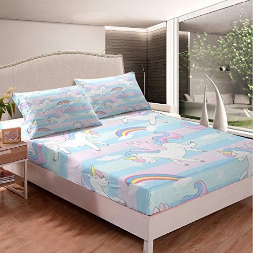 Juego de ropa de cama para niños pequeños, diseño de unicornio, diseño de cuento de hadas, juego de sábanas con animales, azul pastel y rosa, diseño de rayas, 3 piezas, tamaño super king