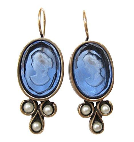 Ovale Gemmen-Ohrringe Ohrhänger blaue Glas-Gemme zierliche Süßwasser-Perlen Haken verschließbar Handarbeit Designer EXTASIA