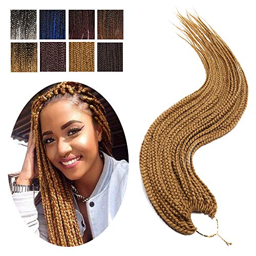 Box Braids Crochet Hair Extension Ombre Pre Braided Box Braids Pre Looped Box Braiding Hair Synthetic 24 Strands/Pack 3X Jumbo Braiding Crochet Hair 24In (3 Packs,Dark Blonde)