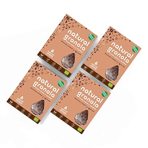 Granola Natural Athlete, Frutos Secos y Semillas BIO, Sin Azúcar Refinado, Sin Gluten, Vegana, Cacao, Coco Quinoa -Pack 4x325g
