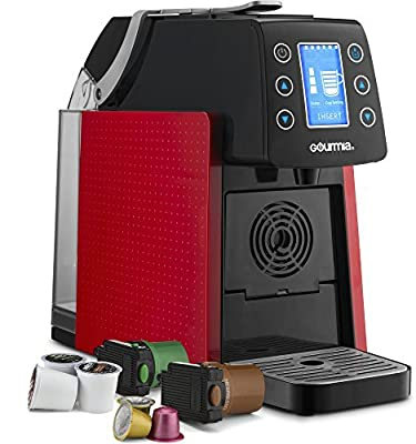 Gourmia Coffee Machine, Compatible With Nespresso and K-Cup & More, Adjustable Temperature & Size, Digital Display