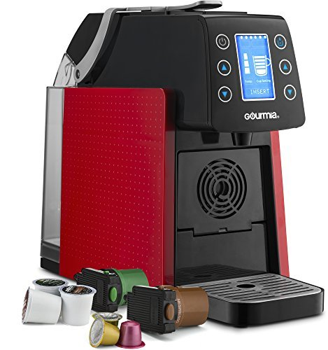 Gourmia Espresso Machine491 Touch Multi Capsule Coffee & Espresso Machine, Red