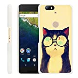 Google Nexus 6P Case Cat,Gifun Slim White Hard Back Case