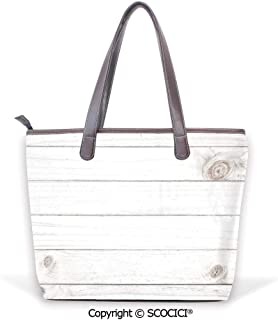 SCOCICI Satchel for Women North Pole Graphic Landscape with Penguin Wave and Su