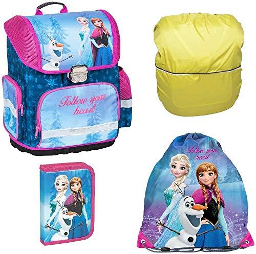 Disney Eiskönigin Frozen Schulranzen Mädchen 1 Klasse Tornister Schulrucksack Schultasche Set 4 teilig für Grundschule inkl. Federmäppchen Sportbeutel und Regenschutz