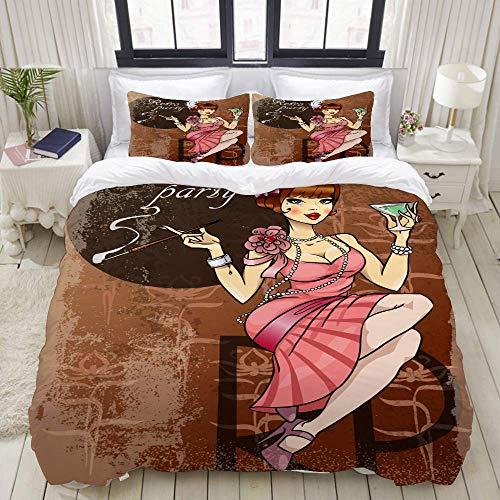 Duvet Cover Set, Retro Party Invitation Card Pretty Woman, Colorful Decorative 3 Piece Bedding Set with 2 Pillow Shams