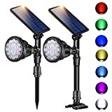 Outdoor Solar Spot Lights,Super Bright 18 LED Security Lamps Waterproof Spotlight for Garden Landscape Path Walkway Deck Garage (7 Colors, 2 Pack)