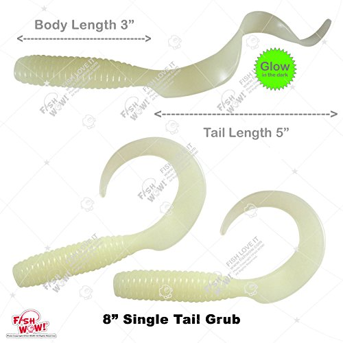 """Fish WOW! 3pcs 8"""" (with Tail Extended) Curly Single Tail Perch Grub Lure 5 inch Scampi Soft Bait - Glow in The Dark"""