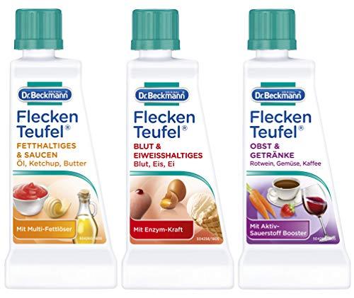 Dr. Beckmann Fleckenteufel Set, Fleckenentferner für Fetthaltiges & Saucen, Blut & Eiweißhaltiges, Obst & Getränke | 3 x 50 ml