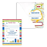 Dots and Stripes Kids Thank You Note Card Pack - Set of 20 fill in the blank cards with envelopes