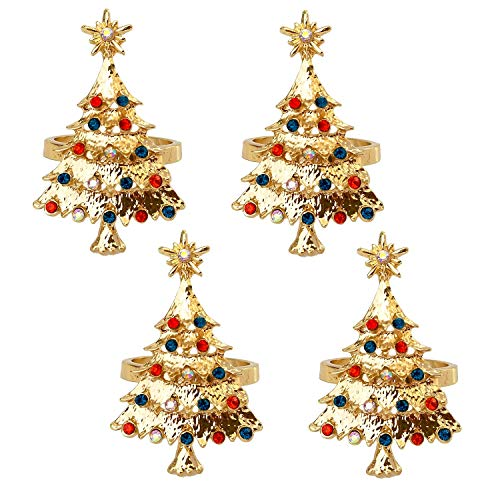 Chris.W Chirstmas Tree Napkin Rings Set of 4, Napkin Holders for Holiday Wedding Christmas Thanksgiving Xmas Table, Stainless Steel Dinner Parties Home Table Decoration (Gold)