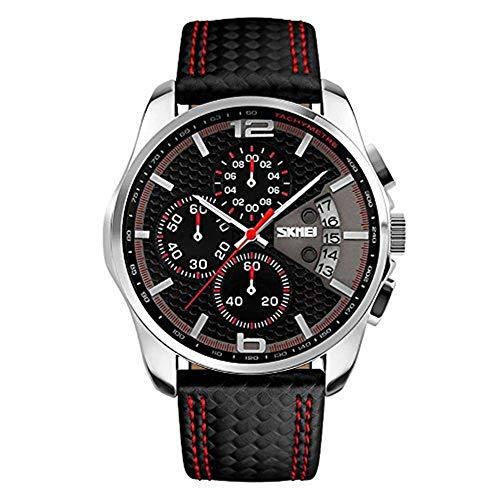 SKMEI -  Reloj de pulsera deportivo de cuarzo con correas de piel de color negro para hombre  - Cronógrafo integrado y fecha - Estilo casual
