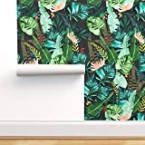 Spoonflower Peel and Stick Removable Wallpaper, Tropical Leaves at Night Jungle Green Banana Leaf...