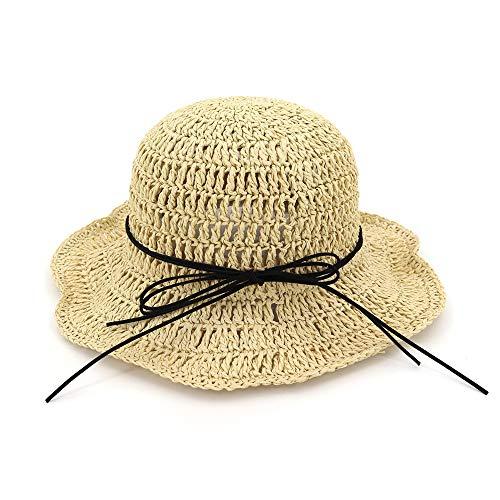 Xuguiping Zomer handgemaakte vrouwen stro-zonnehoed vouwen strand hoed bowknot dames ademende Bucket Beach Hat 56-58cm licht kaki