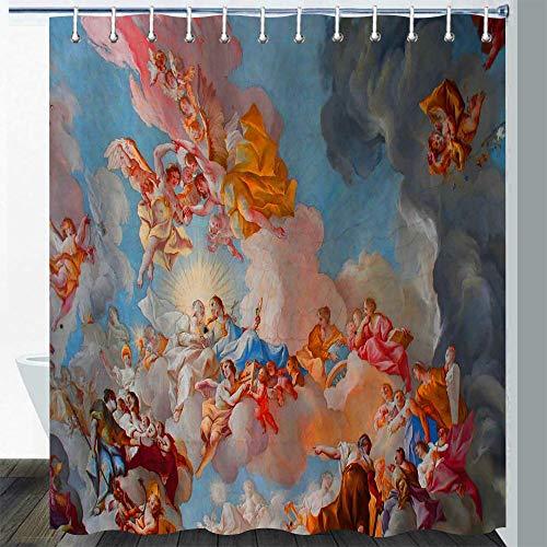 Gdmoon Heaven Angel Shower Curtain Medieval Retro Mythology Mural Italy Ancient Victorian Cute Boy Girl Kid Cartoon Bathroom Curtain Set 72X72In YLLMGD875