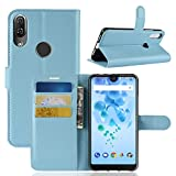 Ycloud Tasche für Wiko View 2 Pro Hülle, PU Kunstleder Ledertasche Flip Cover Wallet Hülle Handyhülle mit Stand Function Credit Card Slots Bookstyle Purse Design Himmelblau