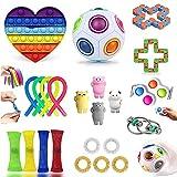 LIGEDG Fidget Toys, Fidget Toys Pack Pas Cher, Jouet Anti Stress, Jouet Enfant de Anti Stress et Anti-anxiété, Simple Fidget Toys Set (24 Pièces)