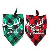 Johiux Christmas Dog Bandana, 2Pcs Dog Bandanas,Classical Washable Reversible Adjustable Pet Triangle Scarf for Dogs and Cats