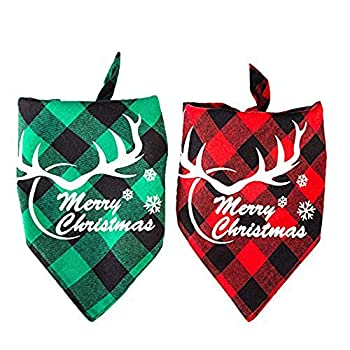 Johiux 2pcs Bandana pour Animaux de Compagnie, Serviette de Noël pour Animaux de Compagnie,Foulard pour Chien Bandanas Salive Serviettes pour Les Chats et Les Chiens