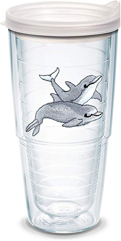 Tervis 1092285 Bottlenose Dolphins Insulated Tumbler With Emblem And Frosted Lid 24oz Clear