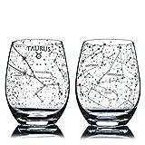 Stier Stemless WeingläserHandgeätzte 15 Unzen (2er-Set) - Astrologie Zeichen Glaswaren