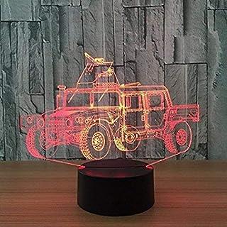 DCLINA 3D War Chariot Voiture Veilleuse Lampe 7 Changement Couleur LED Tactile USB Table Cadeau Enfants Jouets Décor Décor...
