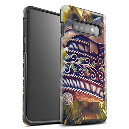 Stuff4® glanzende harde schokbestendige hoes/case voor Samsung Galaxy S10 / messing klok patroon/kerst foto collectie