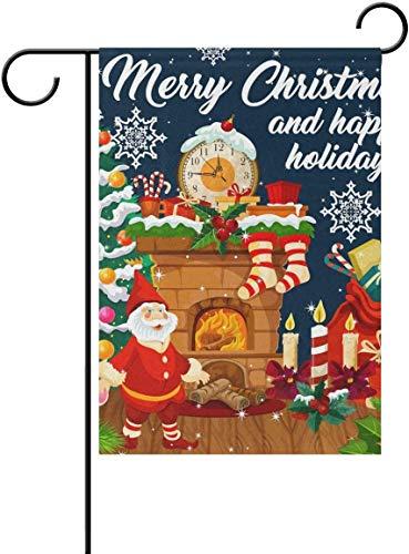 YATELI Cour Jardin Drapeaux 28x40 Pouce Hivers Double Face Grand Noël Bienvenue Cour Accueil Décoratif De Noël Bas Santa Xmas Tree Claus Présent Holly Berry Garland Chaussette Bonbons Flocon De Neige