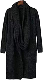 Womens Casual Scarf Open Front Solid Color Long Sleeve Warm Coat Jumper Sweater Cardigan