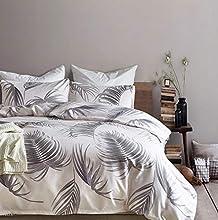 ELEH Juego de ropa de cama de 2 piezas (1 funda nórdica + 1 funda de almohada), diseño de hojas, 100% microfibra de poliéster con cremallera, funda de edredón (hojas, 135 x 200 cm + 1 x 80 x 80 cm)