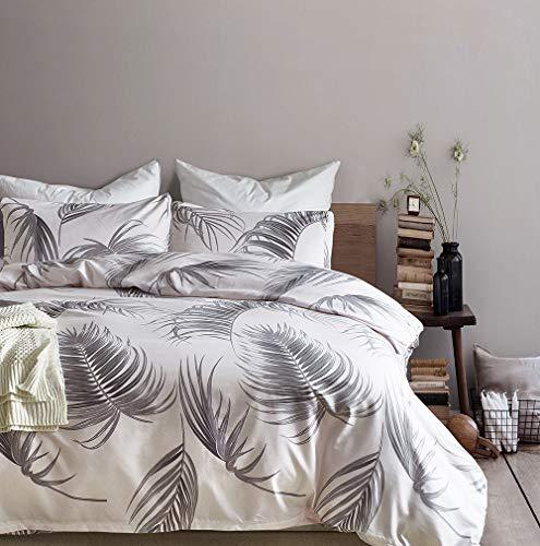 ELEH Juego de ropa de cama de 3 piezas (1 funda nórdica + 2 fundas de almohada), diseño de hojas, 100% microfibra de poliéster con cremallera, funda de edredón (hojas, 200 x 220 cm + 2 x 80 x 80 cm)