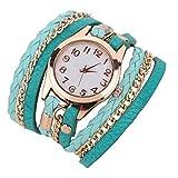 Demarkt Retro Weave Wrap Leder Armband Armbanduhr Quarz Uhr Lederarmband Quarz Armbanduhr Hellblau