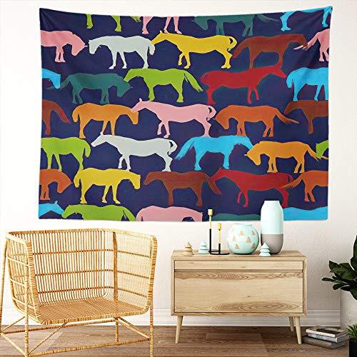 Y·JIANG Tapiz de fantasía, siluetas de caballos retro en colores para el dormitorio del hogar, tapiz grande, manta ancha para colgar en la pared para sala de estar, dormitorio, 80 x 60 pulgadas