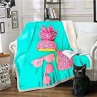 Xc クリスマス毛布/厚い毛布、パイナップルデジタルプリントシュウコットンPUホームブランケット子供は子供のためのギフトをブランケット (色 : H, サイズ : 150*200)