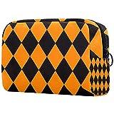 Bolsa de maquillaje Cosméticos Bolsa Organizador de Viaje Embrague de Artículos de tocador Halloween Calabaza Cuadros Amarillo Negro 18.5x7.5x13cm