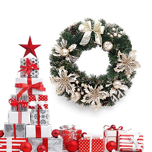 ZWPARTS Ghirlanda Porta d'ingresso di Natale 40cm, Ghirlande di Natale Porta Finestra Appeso a...