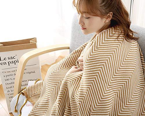 Kuscheldecke Baumwolle Gestrickte Quaste Decke Wellige Jacquard Bequeme Weiche Stuhl Bett Sofa Dekorative Decke 110x180cm Gelblich