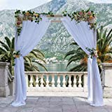 SAYUAN 394 x 53 inch Wedding Arch Draping Fabric Organza Table Runner for Wedding Backdrop Curtain Tulle Sheer Scarf Valance Table Swags Stairs Drapes Decoration - White
