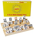 Wooden Domino Train Domino Trays – 8 Solid Wood Domino Holders with 3 Tilted Rows for Ideal Visibility – Domino Holders for Domino Game, Mexican Train Dominoes, Chickenfoot Dominoes, Cuban Dominoes